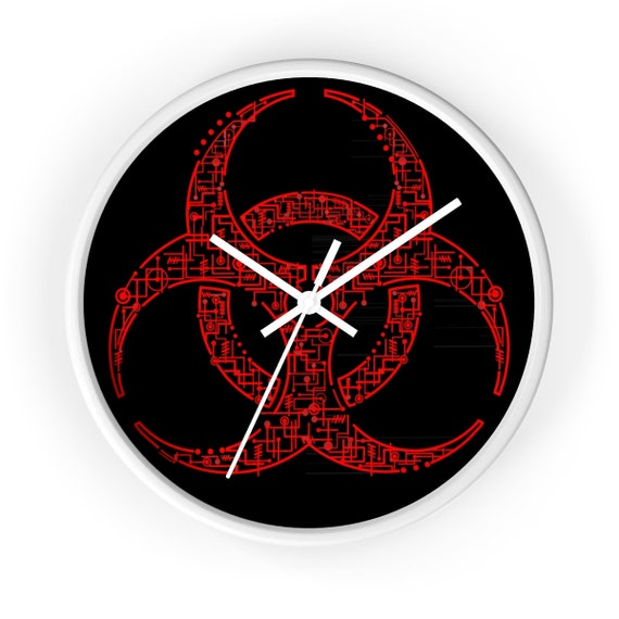"Electronic Biohazard, 10"" Round Wall Clock, Retro Geeky"