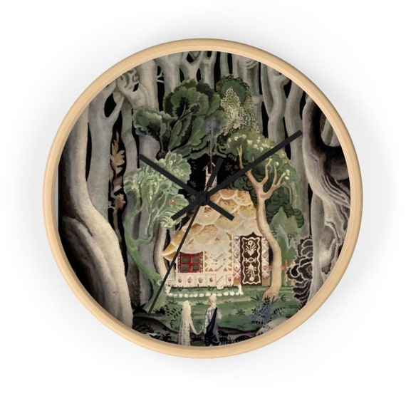 "Gingerbread House, 10"" Wall Clock, Vintage, Art Deco, Antique Watercolor, Hansel & Gretel, 1921"