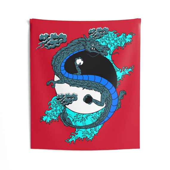 Yin-Yang Dragon Indoor Wall Tapestry, Vintage Retro Style Design, Japanese & Chinese Folklore, Room Decor