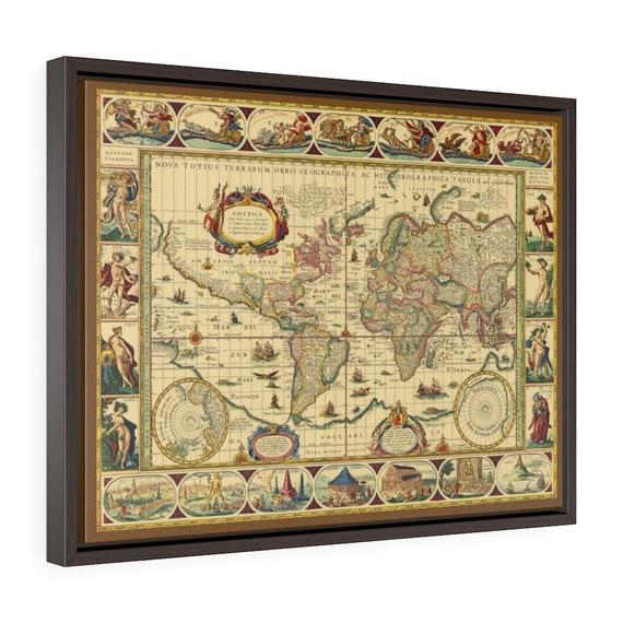 "17th Century World Map, 24""x18"" Framed Gallery Wrap Canvas, Willem Blaeu, Circa 1635, Room Decor"