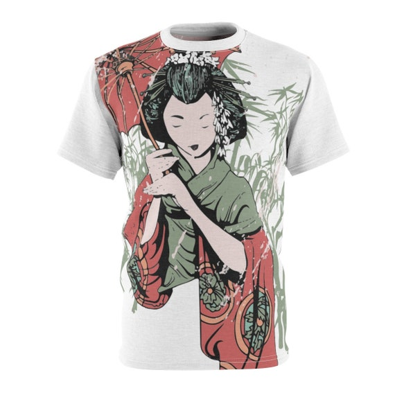 Japanese Woman With Parasol, Unisex T-shirt, Vintage Inspired, AOP