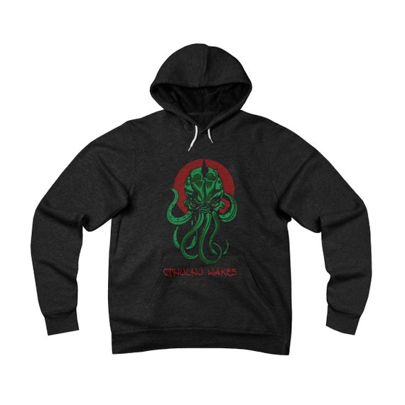 Cthulhu Wakes, Unisex Sponge Fleece Pullover Hoodie, Inspired By H.P. Lovecraft's Mythos