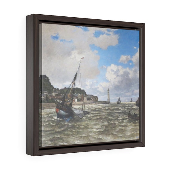 """Mouth Of The Seine, 12""""x12"""" Framed Gallery Wrap Canvas, Claude Monet, Impressionism"""