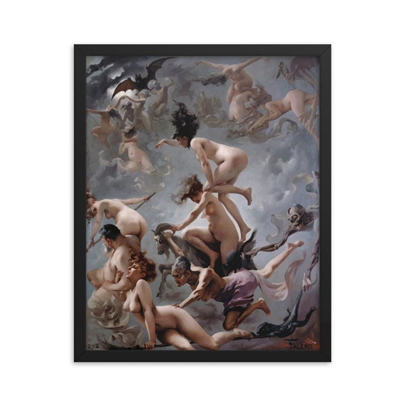 """Witches Going To Their Sabbath, 16"""" x 20"""" Framed Poster, Black Wood Frame, Acrylic Covering, Luis Ricardo Falero, 1878, Witchcraft"""