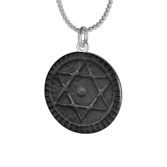 Seal Of Solomon Amulet v2, Chain Necklace, Image Of Antique Moroccan Bronze Coin