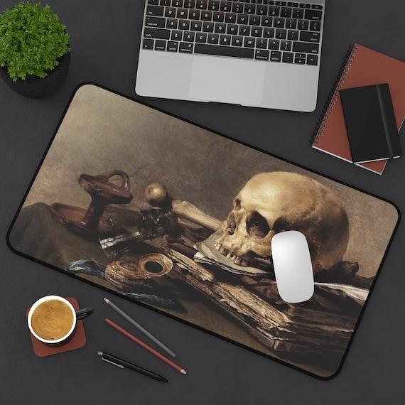 Skull Looking Left Desk Mat, Vanitas Still Life