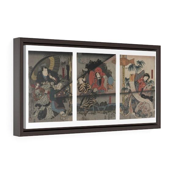 "Kabuki Theater, 20""x10"" Framed Gallery Wrap Canvas, Japanese Woodblock, Utagawa Kunisada, Circa 1847"