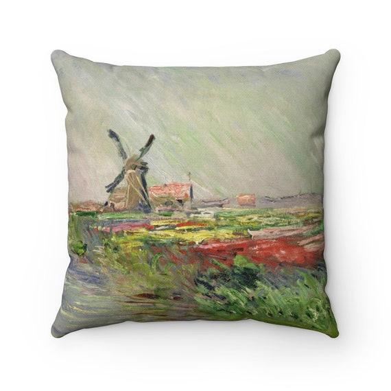 Tulip Field In Holland Square Pillow, Claude Monet, Impressionism