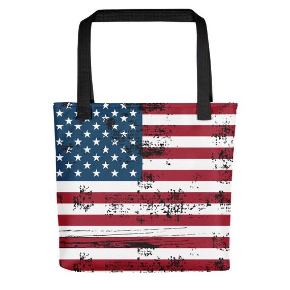 """Shabby American Flag, 15"""" Square Tote Bag"""