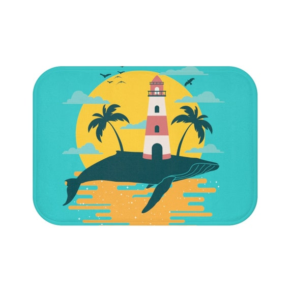 Turquoise Whale Island, Bath Mat, Vintage Inspired Image, Lighthouse, Gulls, Palm Trees