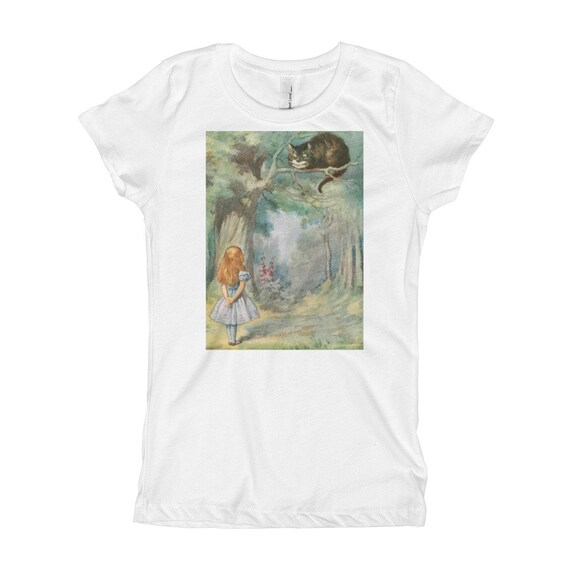 Alice Meets The Cheshire Cat, Girl's Princess Tee, Vintage Illustration, 1911 Edition Alice's Adventures In Wonderland