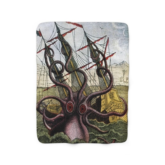 Kraken Attacks Ship Off Egypt, Sherpa Fleece Blanket, Early 1800s, Sea Monster, Giant Octopus