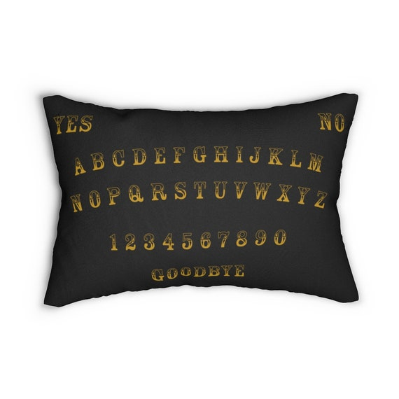 "Gold Letter Ouija Board 20""x14"" Black Pillow"