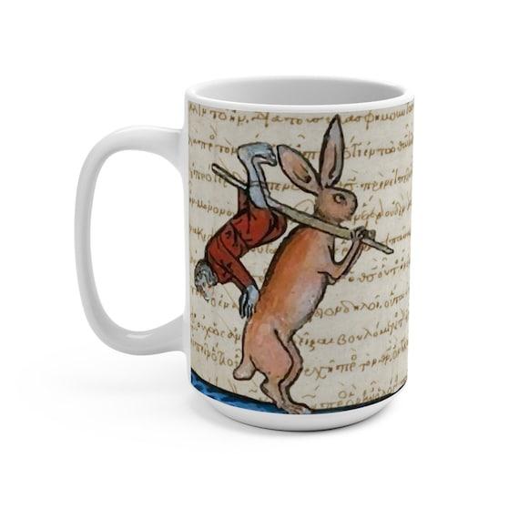 Medieval Hunter Rabbit v2 White 15oz Ceramic Mug, From Medieval Manuscript, Coffee, Tea
