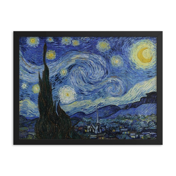 """The Starry Night, 24""""x18"""" Framed Giclée Poster, Black Wood Frame, Acrylic Covering, Vincent Van Gogh, Room Decor"""