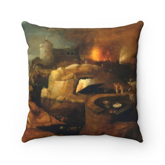 Descent Into Hell v2, Spun Polyester Square Pillow, Painting By Follower Of Hieronymus Bosch, Circa 1550