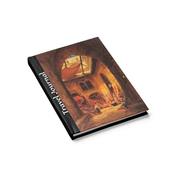 Travel Journal, Hardcover Journal, Ruled Line, Vintage Painting, Hermann Corrodi, 1905