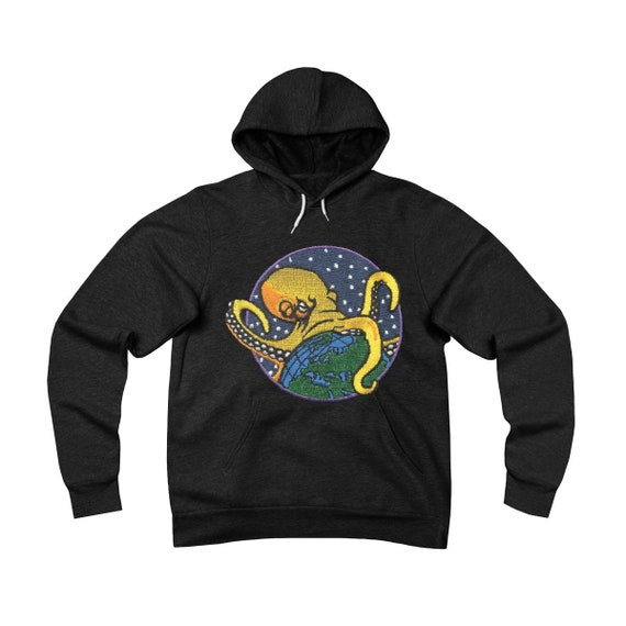 Nothing Is Beyond Our Reach, Unisex Sponge Fleece Pullover Hoodie, Octopus Grasping The Earth