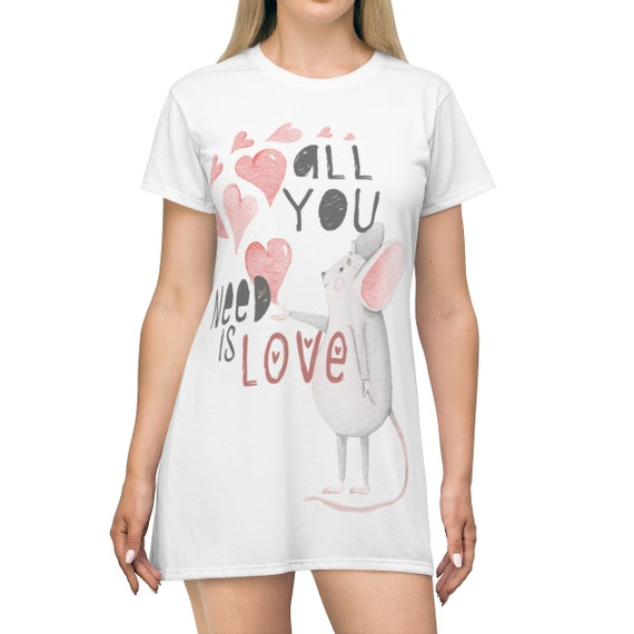 All You Need Is Love, Long T-shirt And/Or Comfy Sleep Shirt, Valentine's Day Gift, Vintage Inspired Illustration