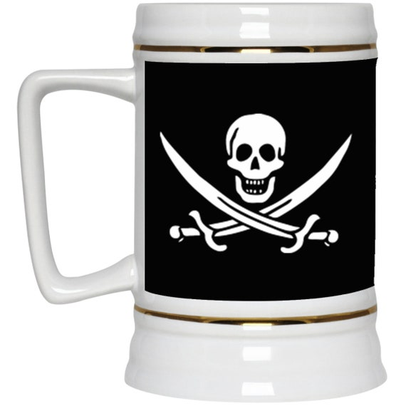 Jolly Roger 22oz Beer Stein, Historical Pirate Flag Of Calico Jack