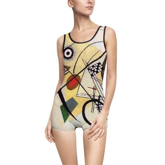 Wassily Kandinsky, Transverse Line, Women's Vintage Swimsuit, Abstract
