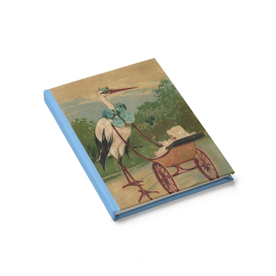 Baby & Stork, Blue Hardcover Journal, Ruled Line, Vintage Illustration, Pregnancy, Baby Shower, Notebook