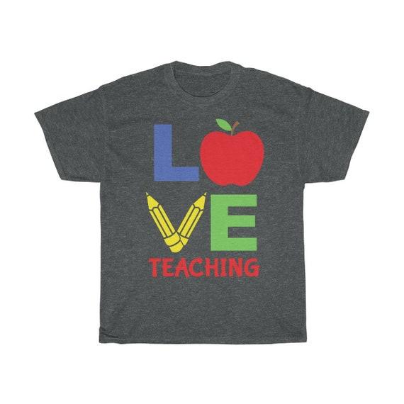 Love Teaching, Unisex Heavy Cotton Tee, Classic Vintage Design