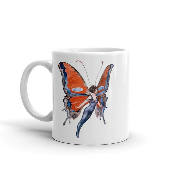 Butterfly Woman, Coffee Mug, Vintage Jazz Age Illustration