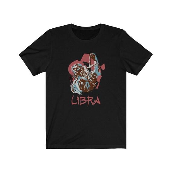 Retro Libra Bella+Canvas Black T-shirt, Zodiac Sign, Astrology Gift