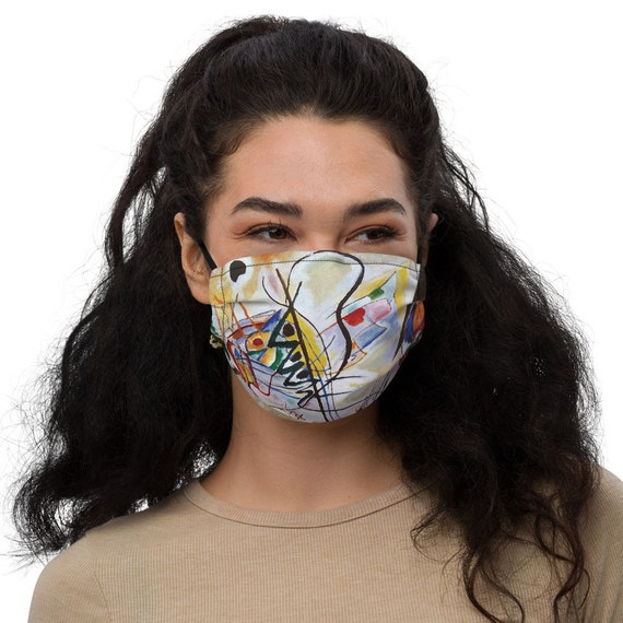 Violet Wedge, Face mask, Filter Pocket, Nose Wire, Abstract, Wassily Kandinsky