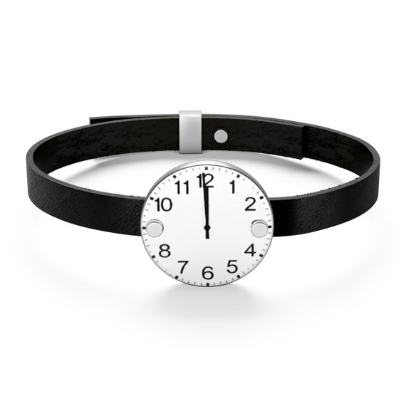 One Minute To Midnight, Sterling Silver Leather Bracelet, Static Image Of Clock