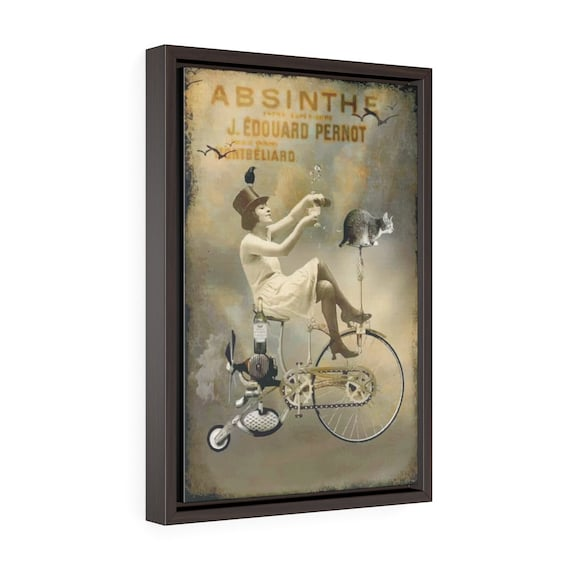 "Riding High, 12""x18"" Framed Gallery Wrap Canvas, Vintage Surreal Absinthe Advertisement, Circa 1920, Room Decor"