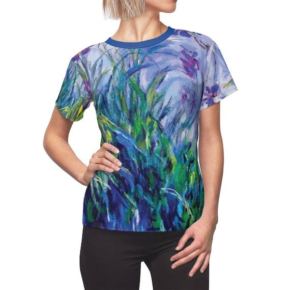 Lilac Irises v2 Women's Top, Claude Monet, AOP