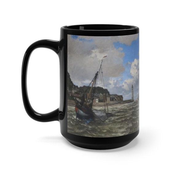 Mouth Of The Seine, 15oz Black Ceramic Mug, Claude Monet, Impressionism, Coffee, Tea