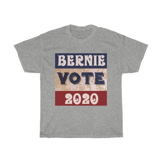 Vote Bernie 2020, Unisex Heavy Cotton T-shirt, 8 Colors, Vintage Inspired, Sanders, President