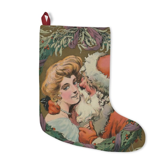 Christmas Stocking With Vintage Drawing Of Santa And Mother Under The Mistletoe From An Antique Postcard Circa 1905