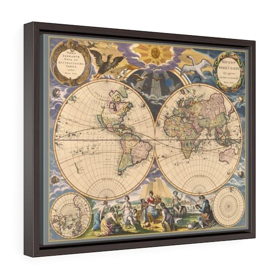 "17th Century World Map, 20""x16"" Framed Gallery Wrap Canvas, Pieter Goos, Circa 1669, Room Decor"