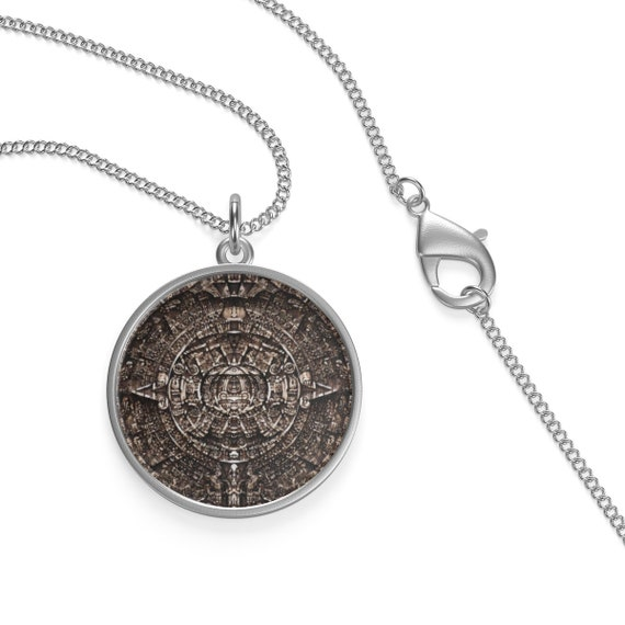 Mayan Compass, Sterling Silver Necklace, Antique Image