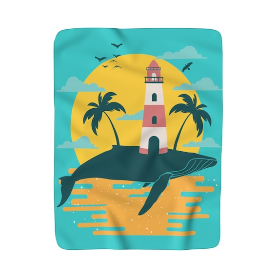 Turquoise Whale Island, Sherpa Fleece Blanket, Vintage Inspired Image, Lighthouse, Gulls, Palm Trees