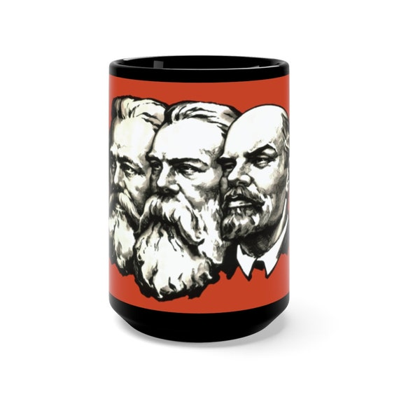 Marx Engels Lenin Black 15oz Ceramic Mug, Socialism, Communism, Marxism, Activism, Coffee, Tea