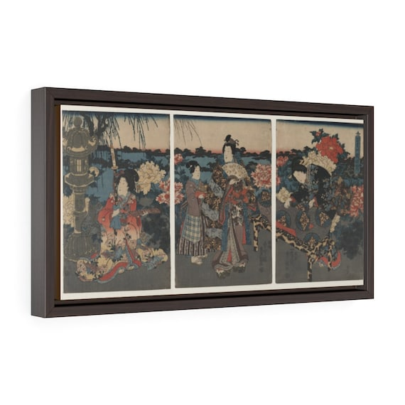 "Villa Garden, 20""x10"" Framed Gallery Wrap Canvas, Japanese Woodblock, Utagawa Kunisada, Circa 1849, Room Decor"