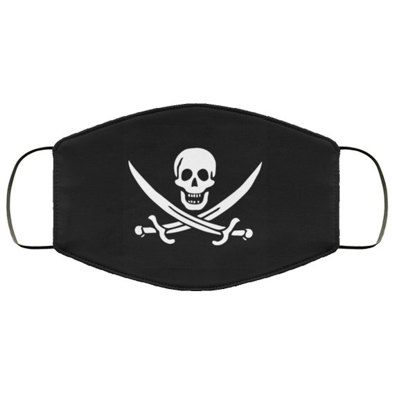 Jolly Roger, Large Face Mask, Breathable, Washable, Reusable, Historical Pirate Flag Of Calico Jack