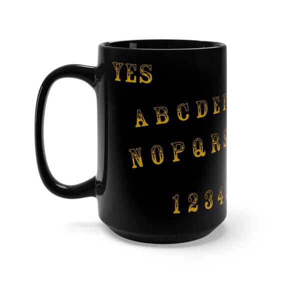 Gold Letter Ouija Board 15oz Black Ceramic Mug
