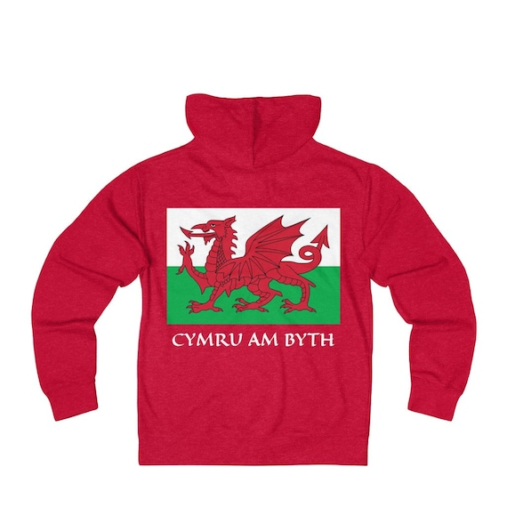 Cymru Am Byth, Unisex French Terry Zip Hoodie, 5 Colors, Red Dragon, Flag Of Wales, Welsh Motto, Welsh Pride