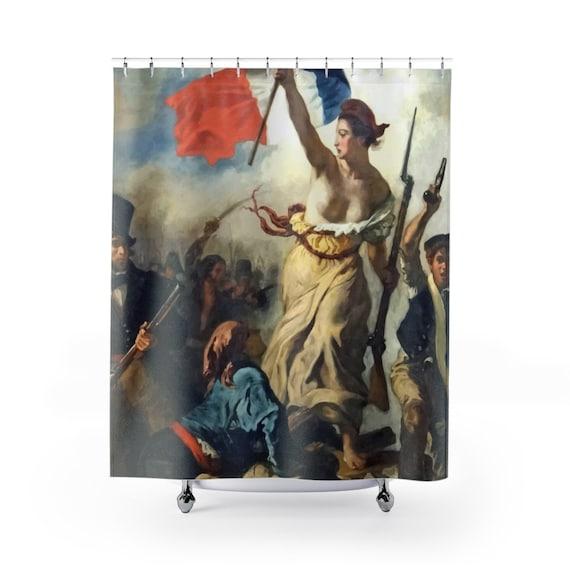 Liberty Leading The People, Shower Curtain, Vintage, Antique Painting, Delacroix, 1830, Activism