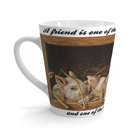 Piglet Friends Latte Mug, From 19th Century Greeting Card, Friendship, Best Friends