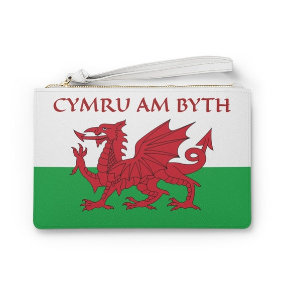 "Cymru Am Byth 9""x6"" Vegan Leather Clutch Bag, Wales Flag & Motto, Welsh Pride"