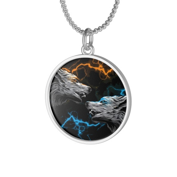 Elemental Attraction, Sterling Silver Necklace, Vintage Inspired Image Of Two Wolves & Colored Lightning