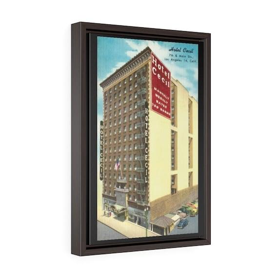 "Horror Hotel Cecil, 18""x12"" Framed Gallery Wrap Canvas, True Crime, Antique Postcard Circa 1950, Americana, Room Decor"