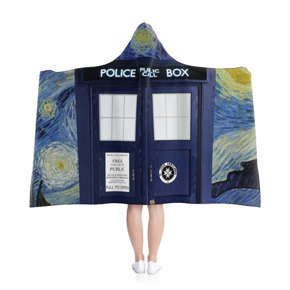 "Starry Night TARDIS, 80""x56"" Hooded Blanket, Inspired by BBC TV Show Doctor Who"